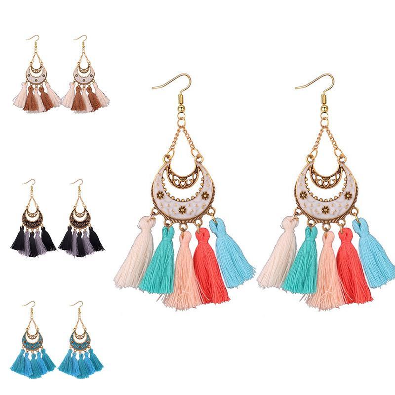 럭셔리 디자이너 쥬얼리 여성 귀걸이 크레센트 Tassel 샹들리에 디자이너 귀걸이 tassels 합금 긴 매달아 earings 드롭 선박 - P는