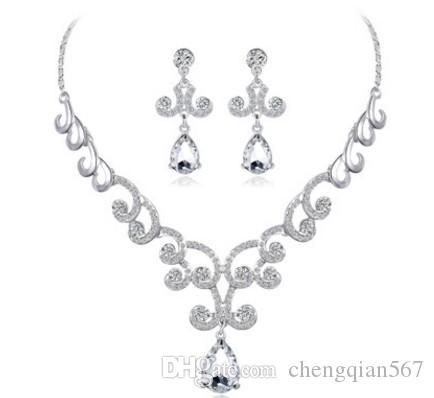 2set / lotes maravilhoso cystal diamante casamento noiva 925 conjunto de senhora de prata brincos colar 12yy