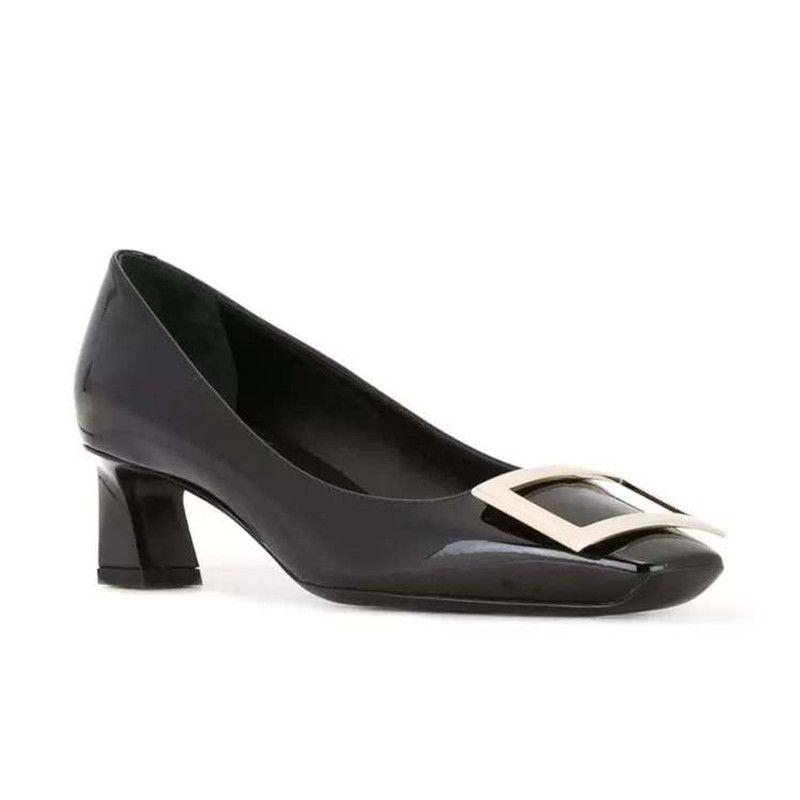 Oficina italiana de las mujeres bombea zapatos de tacones altos 2019 señoras bombea los zapatos de boda de cuero Negro rojo Mujer bloque de pata