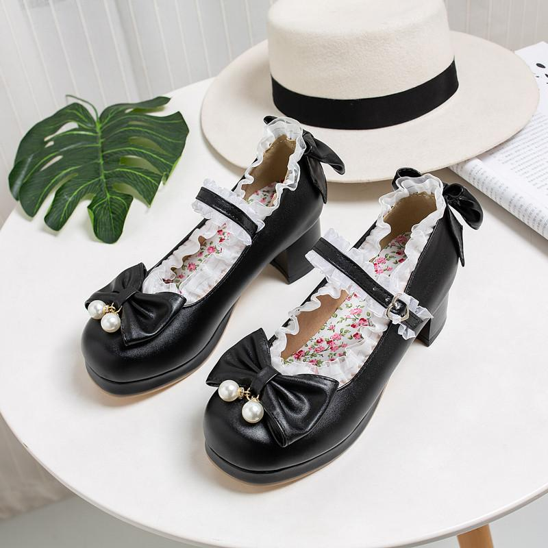 Mary Jane Chaussures Femme Lolita Kawaii Chaussures Plateforme Talons Femme Pumps Cute Fashion 2020 Chaussures à gros talons rose