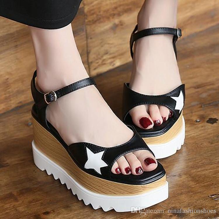 Metallic-Plattform-Sandelholz-Sommer-Schuhe Frauen Sling Sapato Star Open Toe Leder Sandalen Erhöhung Wedges Naturalizer Mädchen Sandalen