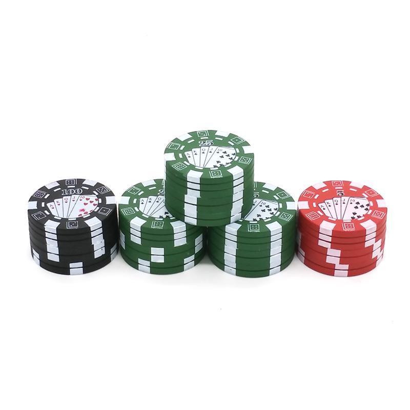 3 capas ficha de póker estilo herbario hierba de tabaco amoladora amoladoras pipa accesorios para gadgets Rojo / Verde / Negro 42.5 * 28mm 38g