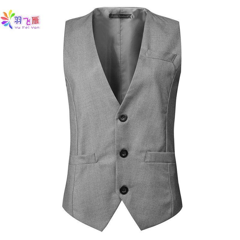 Wedding Men Vest Suit Gray 3XL Casual Suit Vest Single Breasted Black Blue Slim Fit Business Waistcoat
