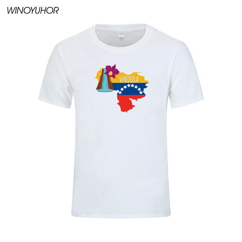 Венесуэла Национальный Флаг Футболка Мужская Мода Повседневная Дизайн Печати Футболки Хлопок Смешные Венесуэла Карта Одежда