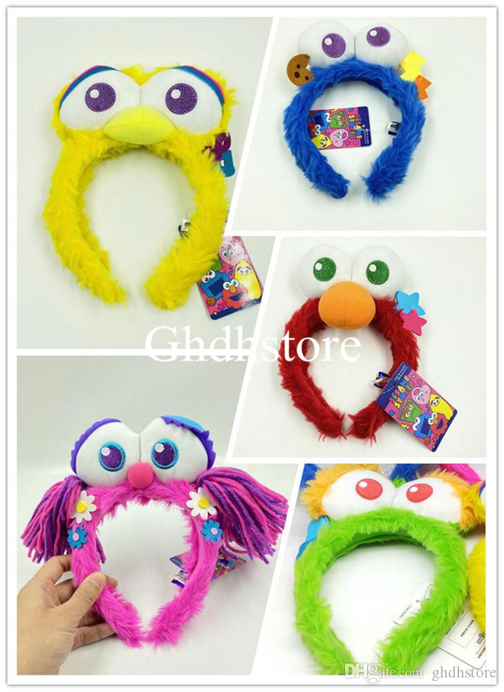 Top New 5 Styles Sesame Street Elmo Cookie Oscar Big Bird Abby Cadabby Fairy Angel Plush Hairband Anime Headwears Party Gifts Hair Hoops