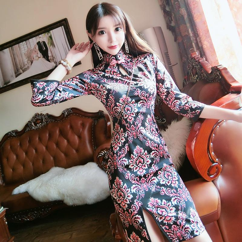 2020 nuevo estilo de estilo chino cheongsam atractivo 0702h418t floral vestido delgado de hendidura
