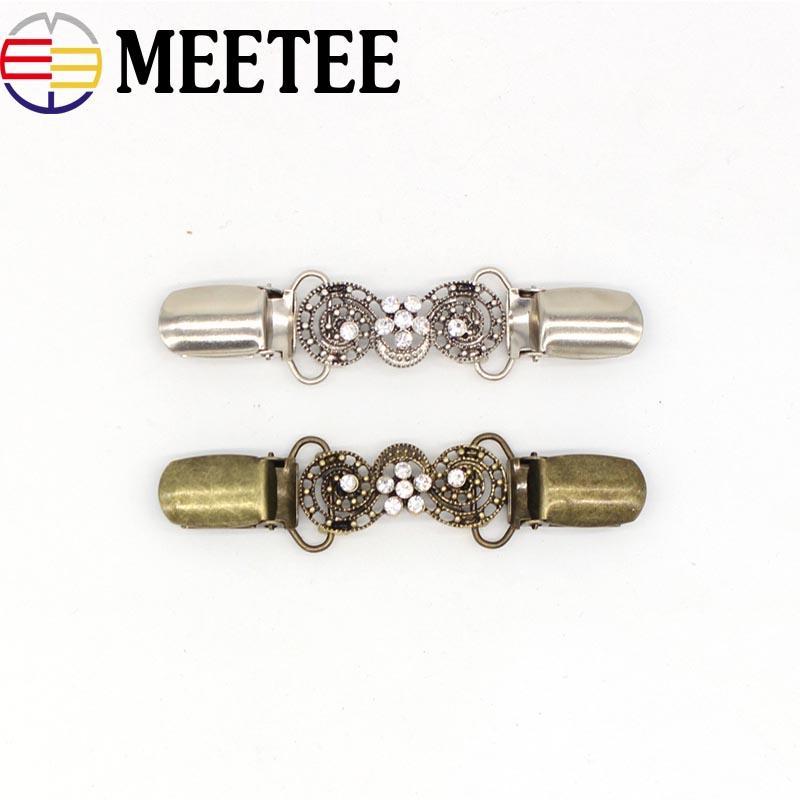 MEETEE KY801 9.5 CM Retro Rhinestone Hebilla de Metal Suéter Cardigan Clip Broche Botones de Metal para la decoración de ropa Ganchos de ropa