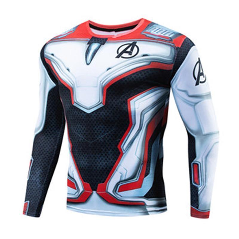 Film Superhero League Men « S Imprimer TShirt série Marvel Fitness manches longues T-Shirt Quantum Compression Shirt Taille simple S-4XL