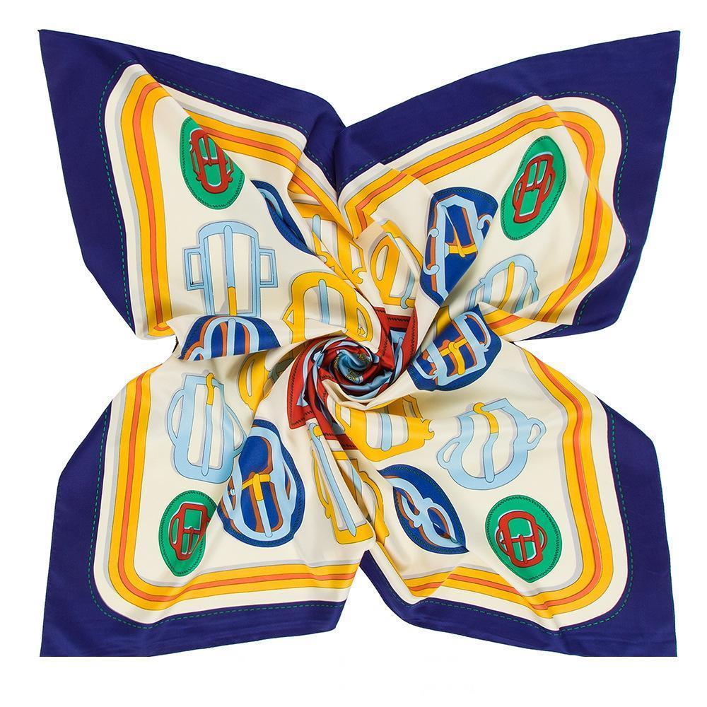 lenço de seda japonesa e coreana Designer1 cinto de impressão simulação cabeça sarja de seda grande senhoras praça lenço de seda xale wh