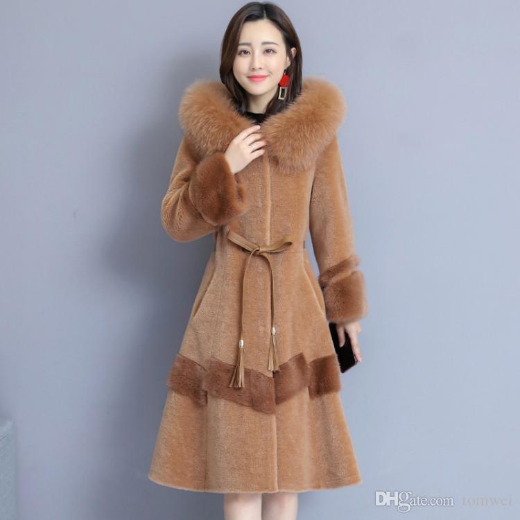 2019 abrigos de piel para mujer chaqueta larga de invierno cuello de piel de zorro damas parkas abrigos abrigos abrigos rompevientos tops talla grande M-4XL
