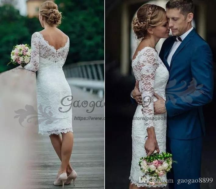 Cheap lace Knee Length short Wedding Dress with covered buttons vintage lace Long Sleeve country garden beach Bridal Gowns
