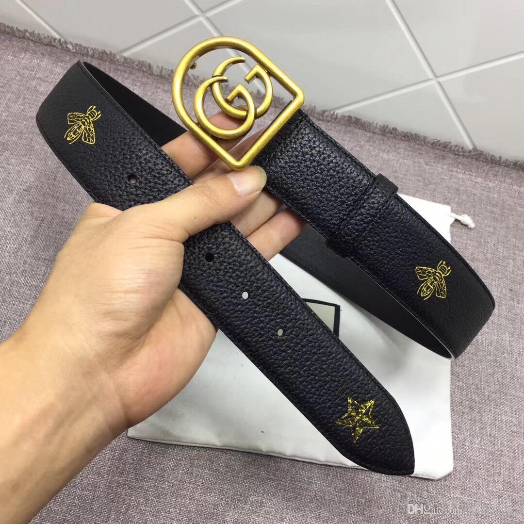Nouveau grand or boucle mots Ceinture avec boîte en acier cowboy en cuir véritable bracelet couleurs ceintures pour hommes livraison gratuite 039