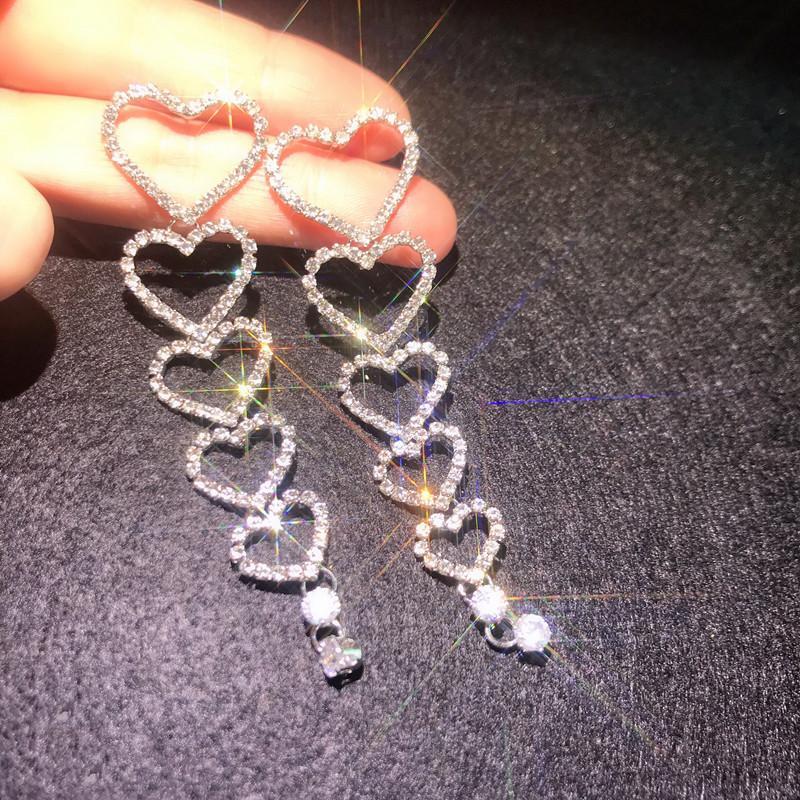 Kadınlar Yeni Parlak duyun Yapay elmas Dangle Küpe Düğünler Gelin Takı Hediyeler için FYUAN Uzun Püskül Kristal Bırak Küpe