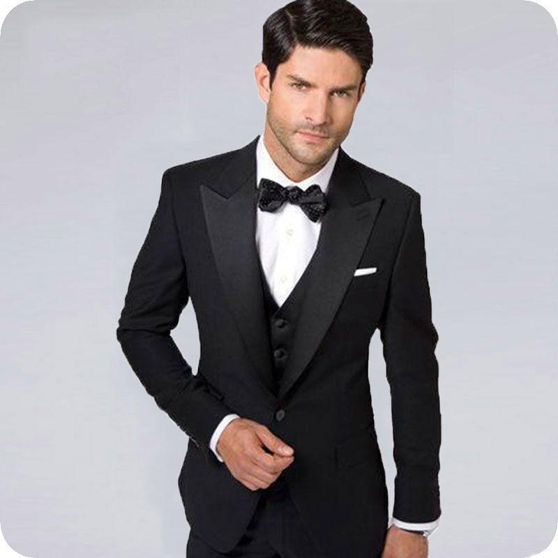 Italy Black Men Suits Slim Fit Costume Homme Wide Peaked Lapel Men Professional Attire Groom Tuxedos trajes de hombre Terno Masculino 3Piece