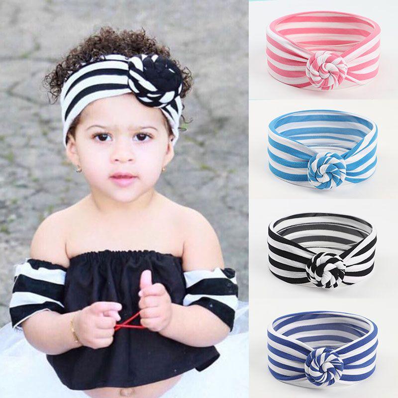 8 colori Cute Baby a righe Knot fascia ragazze headwraps Turbante fasce Infant Bandane anteriore trasversale Hairband Phtography Props M1911