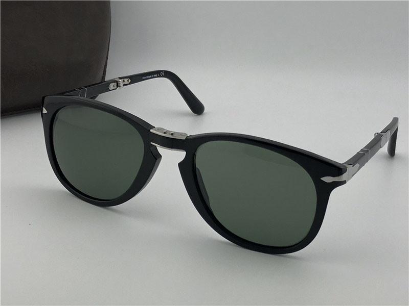 패션 디자이너 가죽 케이스 (714) 고전적인 복고풍 파일럿 접이식 프레임 유리 렌즈 UV400 보호 안경 선글라스
