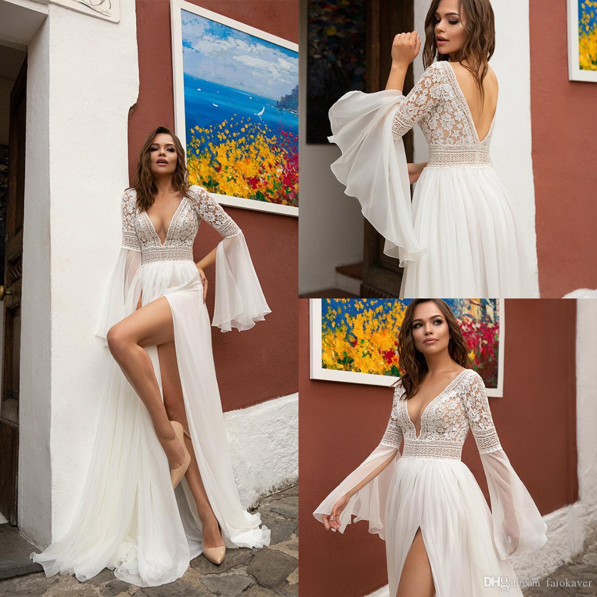 Barrido Oksana Mukha playa vestidos de novia de una línea de tren vestido de novia de cuello en V de Boho encargo más tamaño Bohemia Vestidos de novia de manga larga