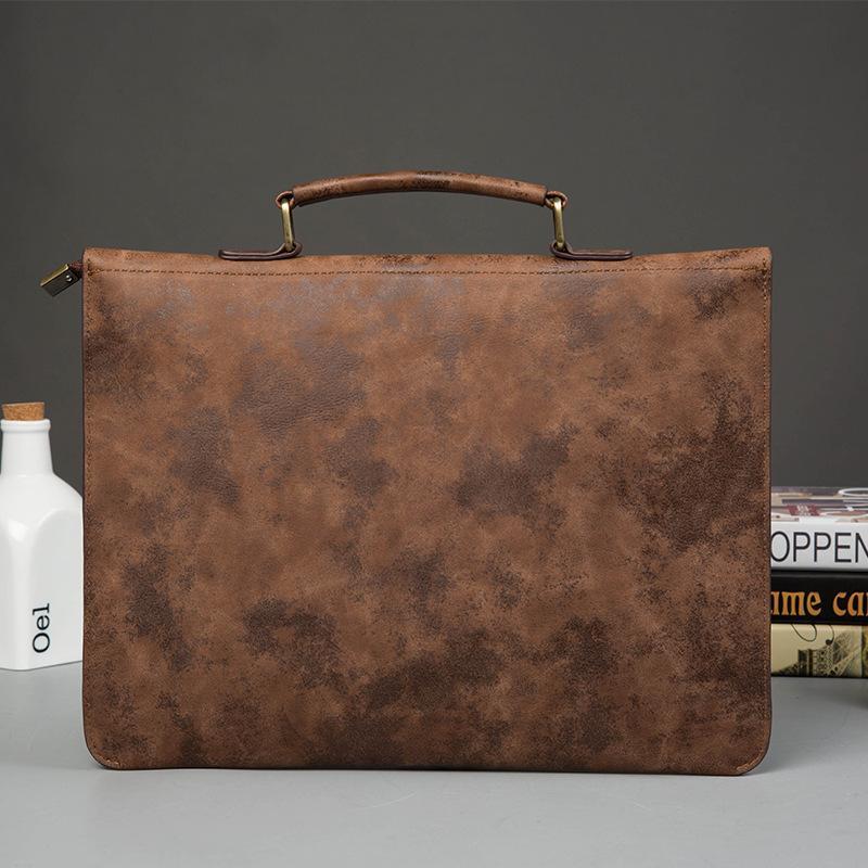 Vintage PU Leather Men Handbag Leisure Mens Bag Business Messenger Bags Portable Briefcase Laptop Package Slim Handbags Male