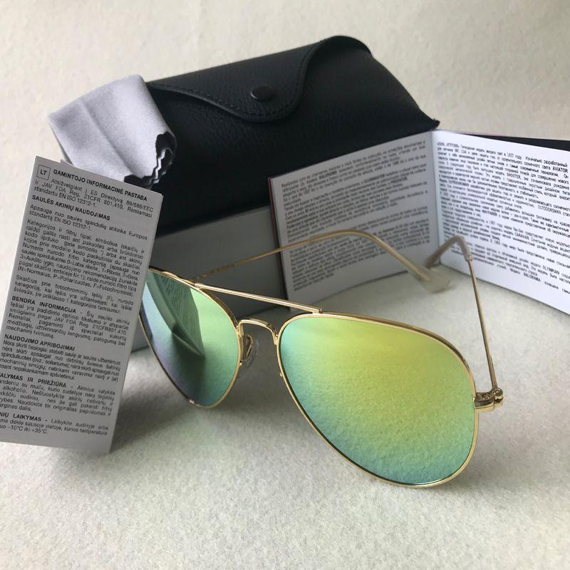 العلامة التجارية مصمم خمر الطيار الرجال النساء 58mm و62mm وUV400 مرآة فرقة مرآة زجاج عدسة النظارات الشمسية مع حالات بيع الساخنة