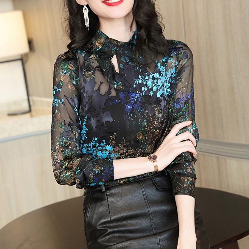 Длинные рукава Женщины рубашка 2020 Весна Новая Темперамент Стенд Воротник Принг Блуза вскользь верхние части женщин OL дамы Офис Blouse Высокое качество