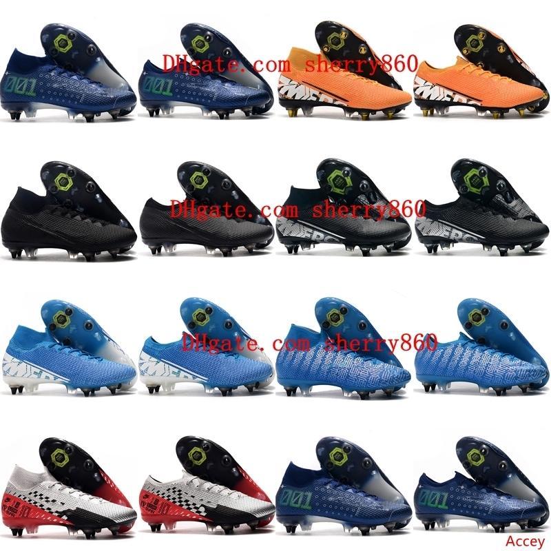 2019 высших качество мужских футбольных бутс Mercurial Superfly-Elite SG-PRO футбола AC утки дешевые CR7 бутсы Mercurial Испарение 13 Elite SG