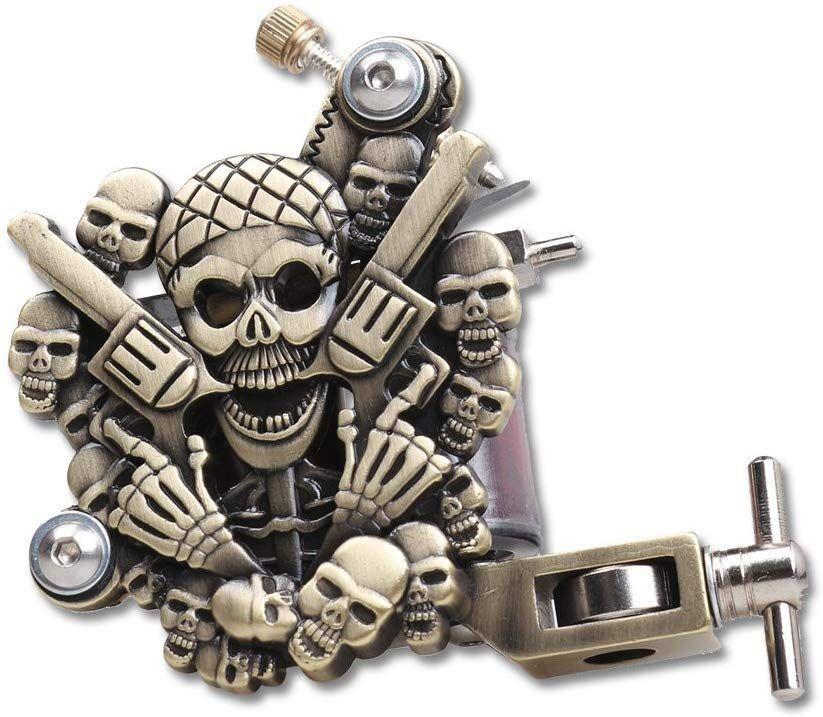 Cráneo tatuaje Relieves de la ametralladora del latón Color de línea y sombreado 10 bobinas de abrigo kit de suministros