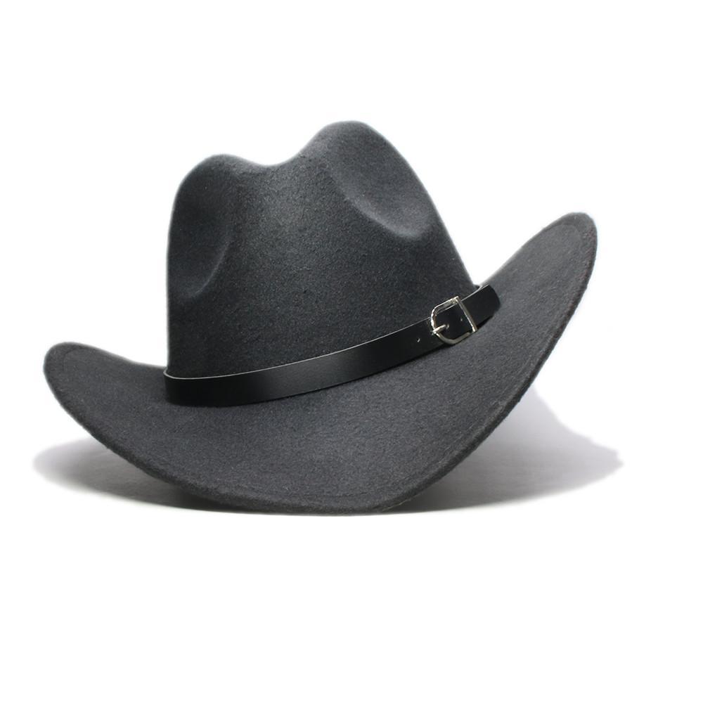LUCKYLIANJI Homens Mulheres Unisex País Cowboy ocidental couro banda Hat Fedora Trilby feltro de lã Cap Chapeu Jazz (Tamanho: 57 centímetros)