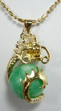 Free Shipping wholesale Chinese fancy design 18kgp dragon inlay 12mm light green pendant jewelry 09