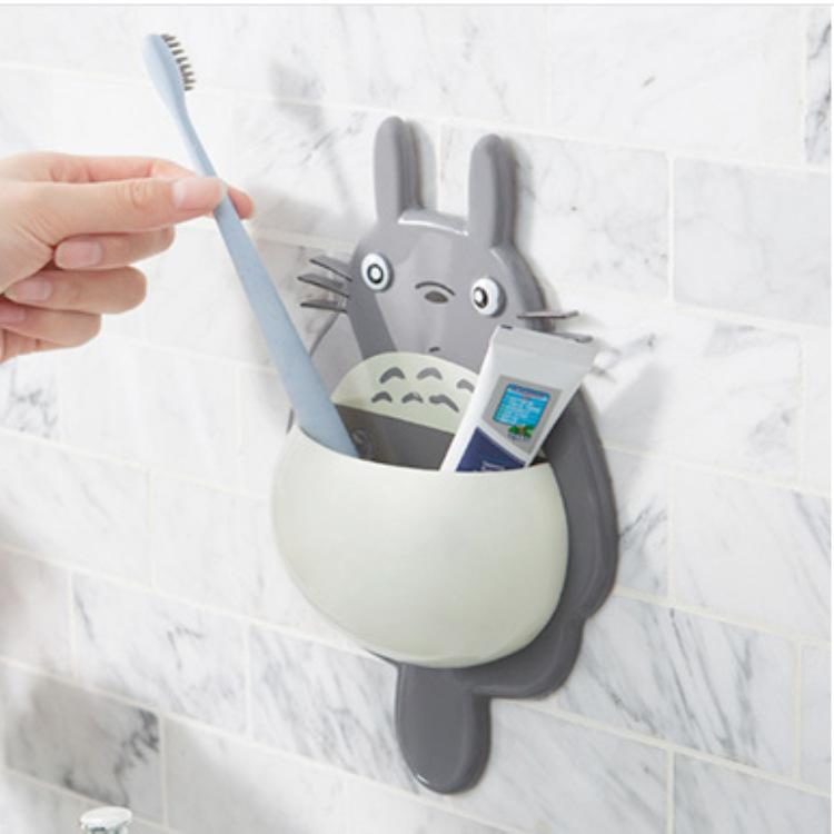 Totoro Porte-Brosse À Bande Dessinée Mignon Mural Montage Au Mur Porte-Dentifrice Avec 3 Ventouses Porte-Cuillère GGA2142