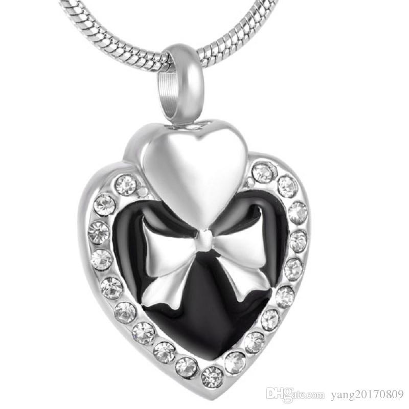 Collar colgante de acero inoxidable IJD9123 Bowknot de la cremación del embutido de cristal caja del corazón de Cenizas Urna con joyería de la cadena de la serpiente
