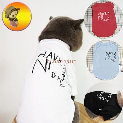 De moda para mascotas Camiseta de algodón del chaleco del perro Carta de primavera y verano Imprimir transpirable chaleco Mejor venta único Imprimir mascotas Chaleco