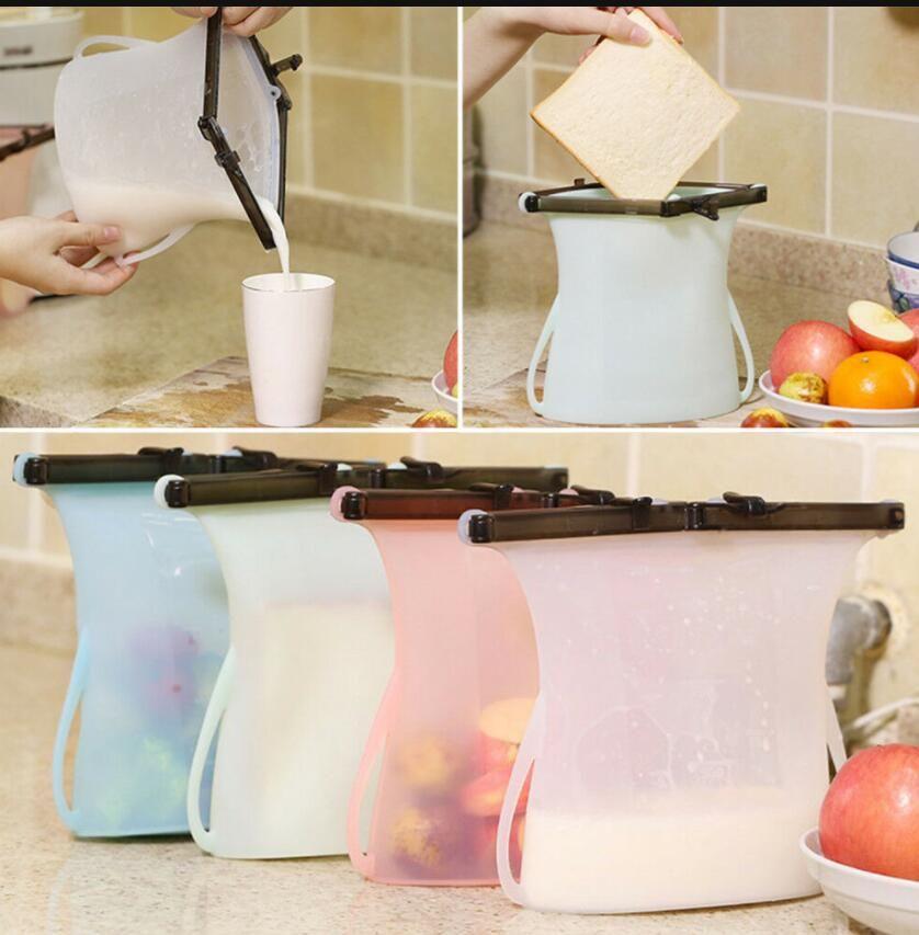 1000ML سيليكون أكياس جديدة قابلة لإعادة الاستخدام الثلاجة حليب الفاكهة اللحوم ختم الطازجة حقيبة سيليكون تخزين المواد الغذائية حقيبة LJJK1168