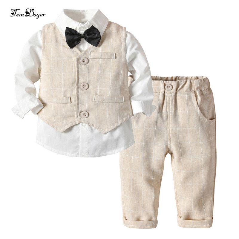 Tem Doger Baby Boy Clothing Sets Winter Baby Infant Newborn Clothes Gentleman Suit Tie Shirt+vest+pants 3pcs Outfits For Bebes J190520