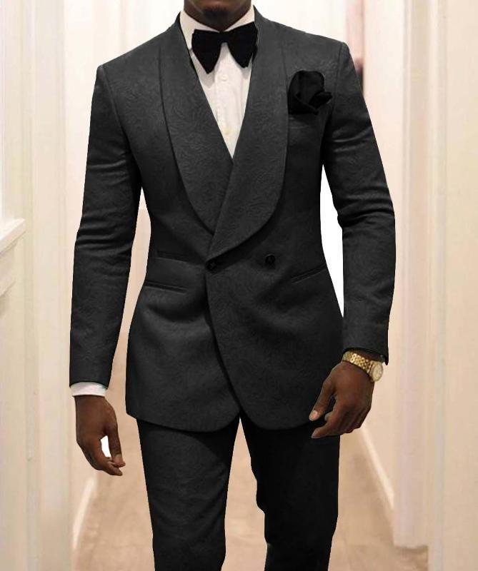 2020 وصول جديد رفقاء العريس الأسود نمط العريس البدلات الرسمية شال طية صدر السترة الرجال بذلات قطعتين الزفاف أفضل رجل (سترة + سروال)