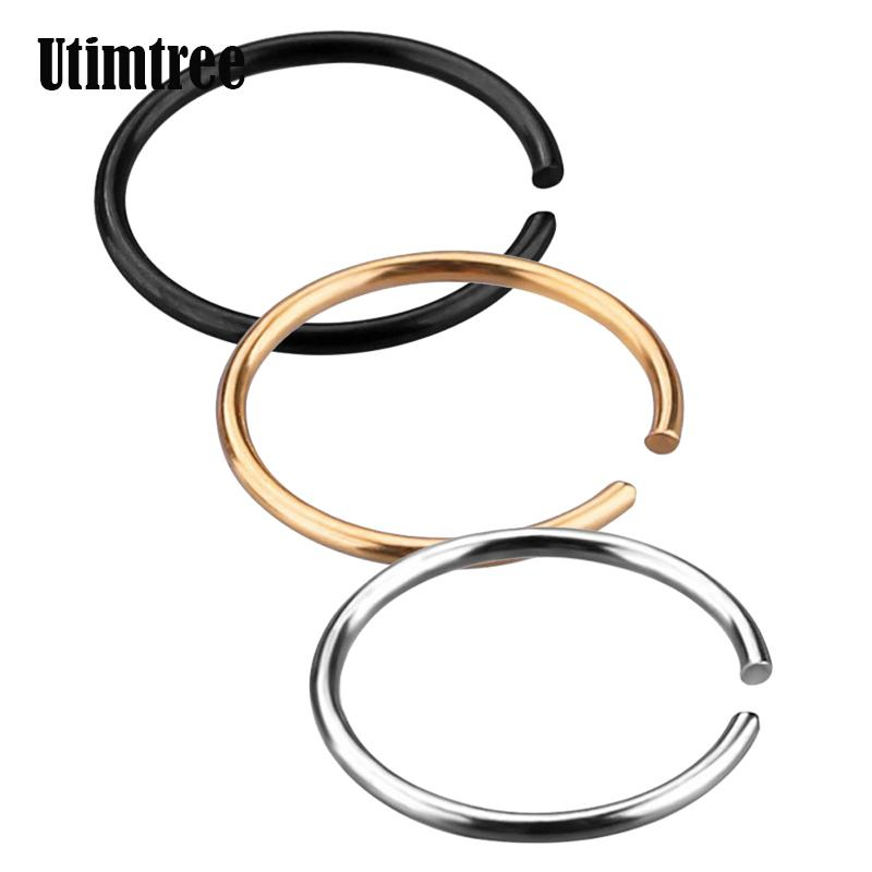 wholesale Simple 20G Fashion Gold Silver Black Stainless Steel Nose Ring Hoop Nose Stud Lip Rings Body Piercing Jewelry For Women