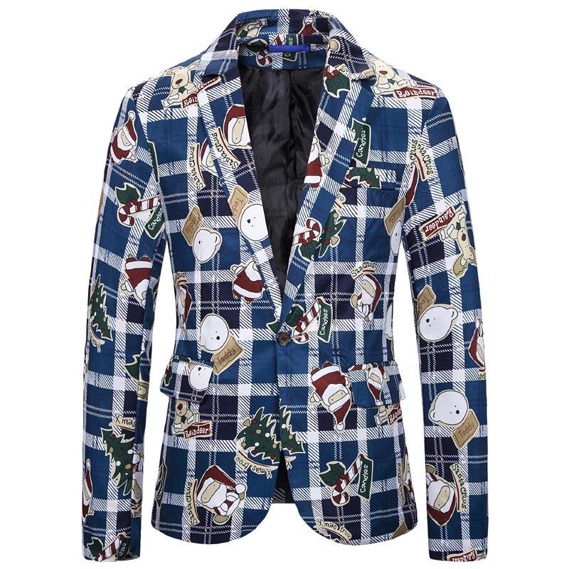 Noel Giyim Erkekler Blazers Nedensel Baskı Noel Baba yemeği partisi Suits Blazers Slim Fit Plus Size Kardan Adam Şeker Ceketler