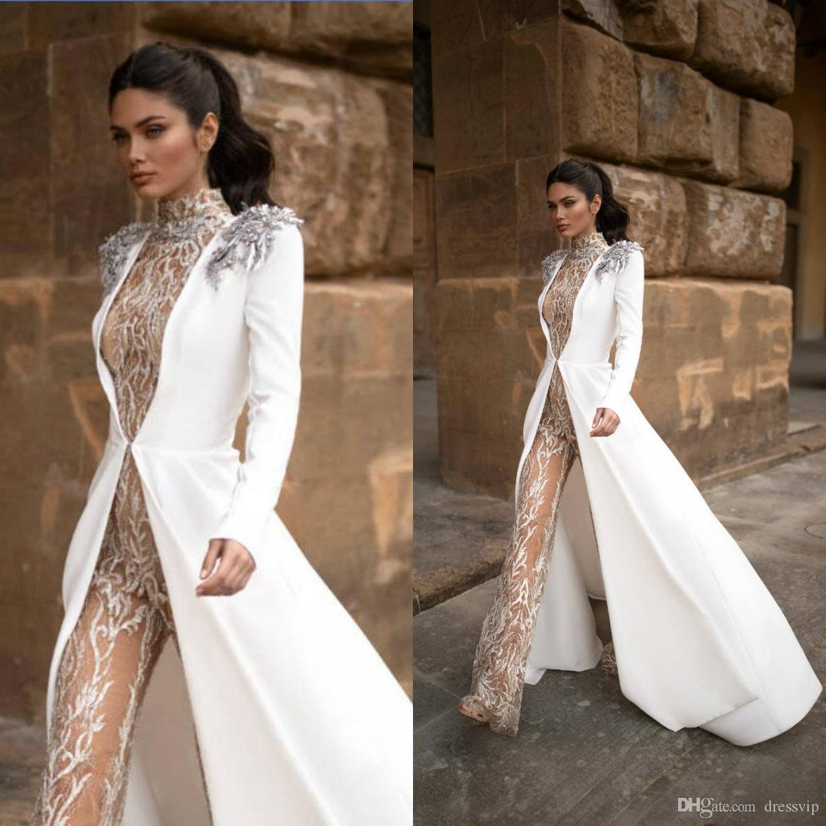 Milla Nova Wedding Jumpsuits With Long Jacket 2020 High Neck Lace Appliqued Bead Lace Bridal Dress Sweep Train Illusion Beach Wedding Gowns