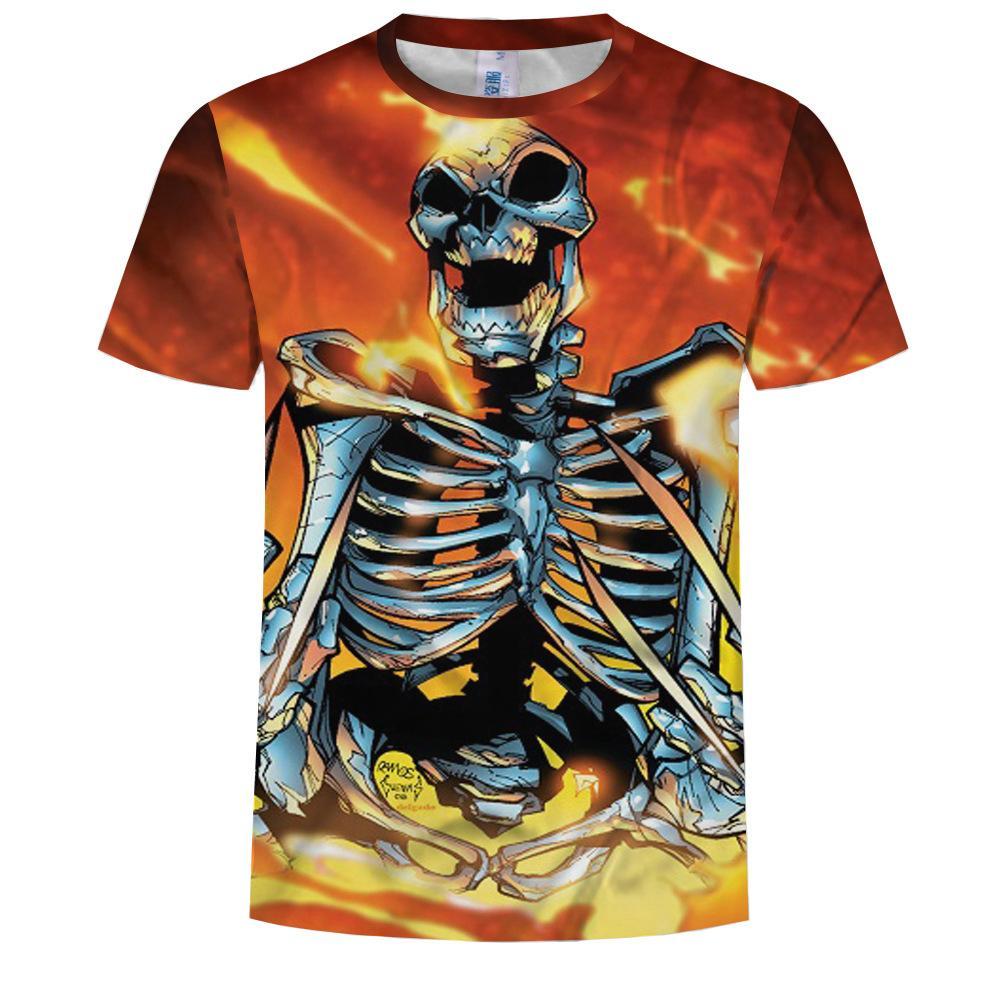 두개골 T 셔츠 남성 t- 셔츠 재미 펑크 의류 군사 t- 셔츠 힙합 남성 의류 여름 스트리트 Ypf778 인쇄 차원