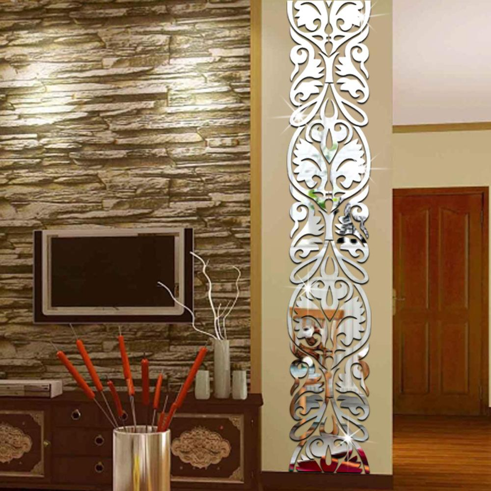 Diy Home Decor Living Room Entrance Tv Background Decoration Mirror Wall Stickers Acrylic 3d Mirrored Sticker Mural Q190416