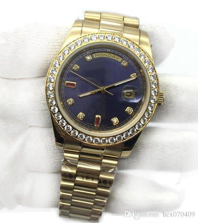 Мужские часы синий циферблат 40mm 18k Gold президент Sapphire Cystal Бриллиантовый номер мужчины часы автоматические механические движения Мужской наручные часы