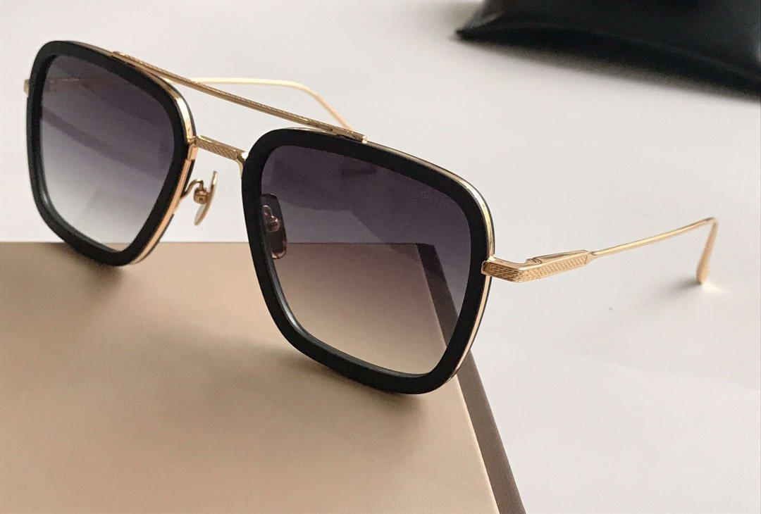 Квадратные солнцезащитные очки Box Black Da Shades Frame Occhiali 7806 Мужские Солнцезащитные очки Единственные объектив с золотыми модами Очки Градиент серый Xaoco