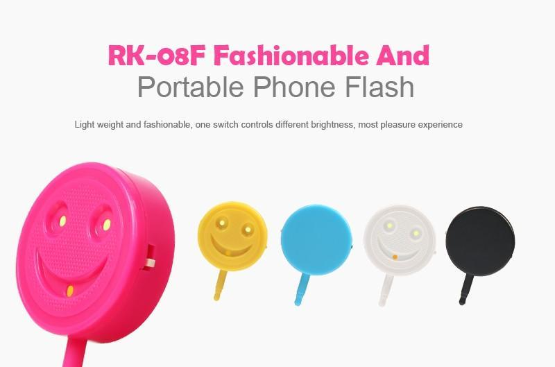Free DHL LED Flash Light RK-08F Smiling Face Warm-cold Light Camera Flash Sync Selfie Flash Light