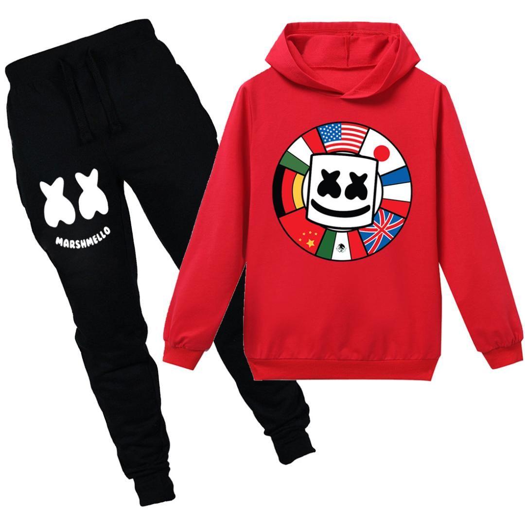 Kid Para Meninos E Meninas pulôver capuz marshmello Dj Moletom Jaqueta Casaco outwear tops