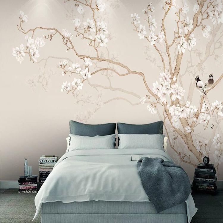 Acheter Moderne Style Chinois Chambre Papier Peint Murale 3D Peint À La  Main Magnolia Fleur Oiseau Papier Peint Étanche Papel De Parede Home Decor  De ...
