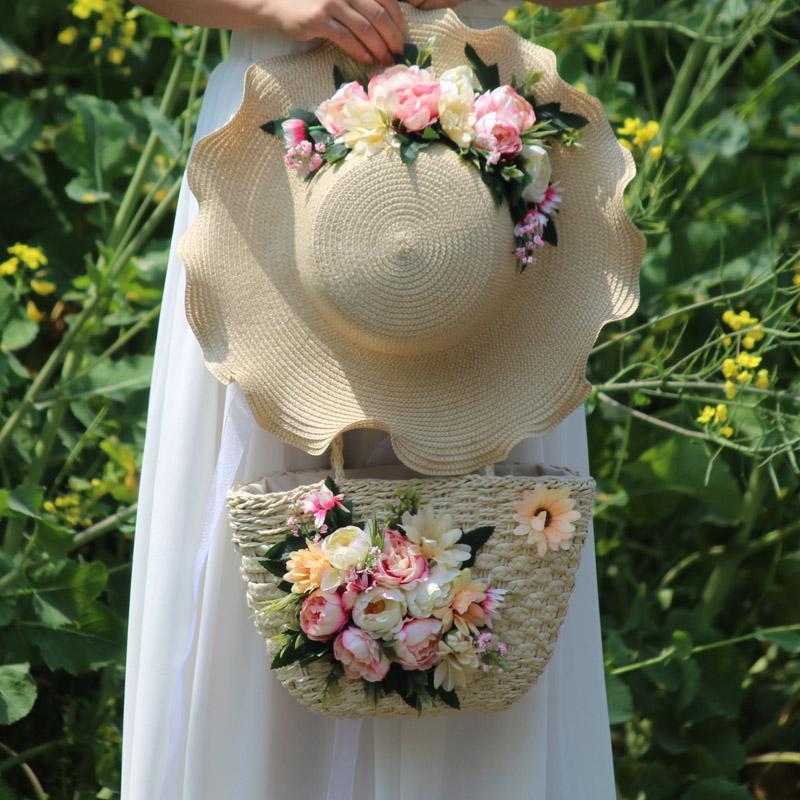 Blue Rose-Böhmen-Art Urlaub Fotografie Weave Rattan Top-Griff Toten Handtaschen-Frauen Art und Weise handgemachte Blumen-Stroh-Strand-Tasche