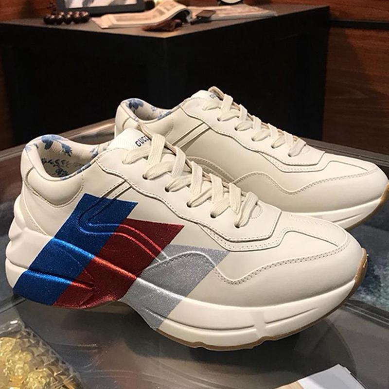 Hommes Chaussures en cuir Rhyton Chaussures de sport Scarpe Da Uomo de luxe avec la boîte originale Chaussures Hommes Mode Chaussures Pour Hommes Respirant Chaussures Homme