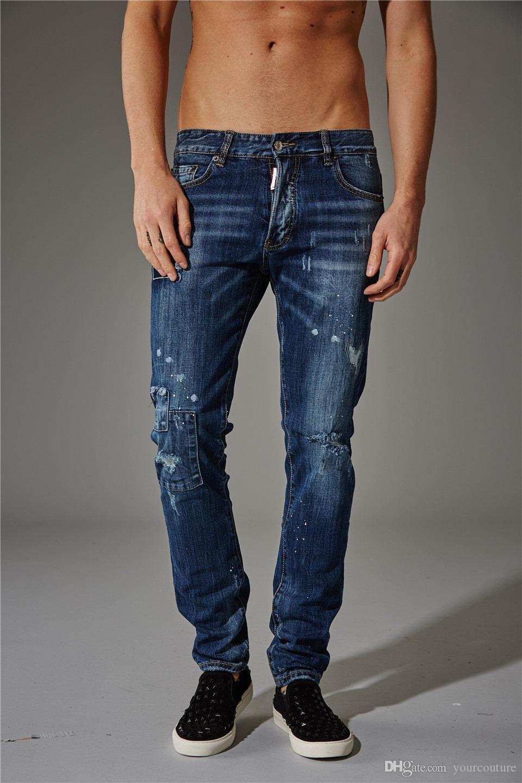 Neue Männer Designer-Jeans Menshosen blau / schwarz zerstört Mens dünne Denim gerade Biker Skinny Jeans Männer