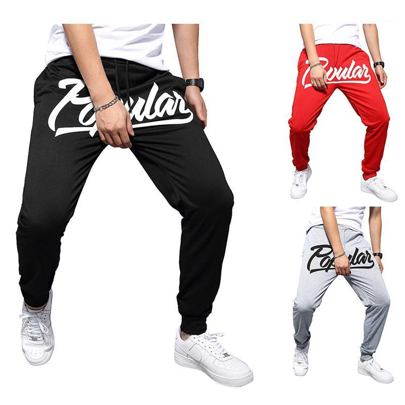 Color Casual Street Style Pencil Pants Male Fashion Apparel Mens Letter Splicing Print Sweat Pants Solid