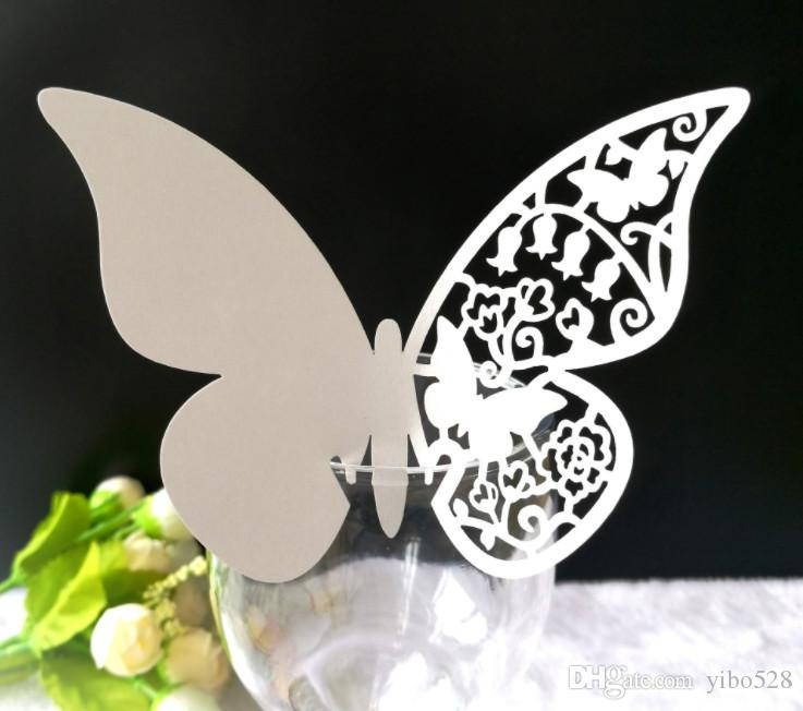 2019 Laser Cut-out Butterfly decoration card Wedding Birthday Party Table Name Wine Food Guest Seats Place Cards Favor Decoration