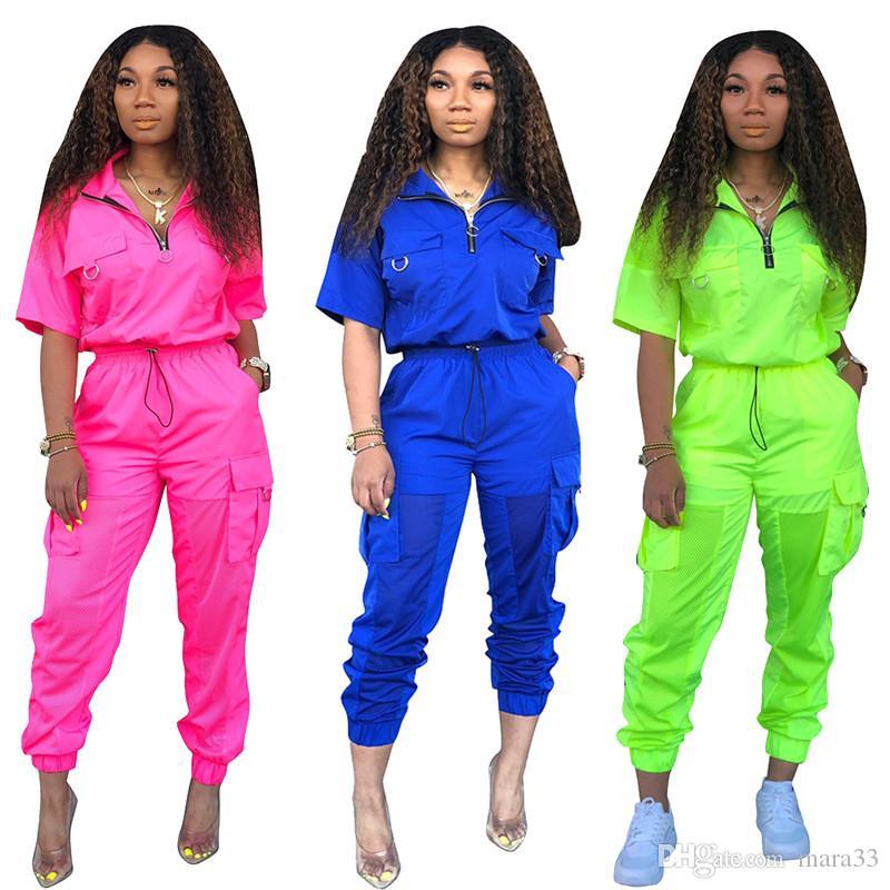 Women 2 piece set pullover lapel neck 1/2 sleeve zipper t-shirt bodycon leggings pants panelled sheer grenadine summer clothes plus size 396